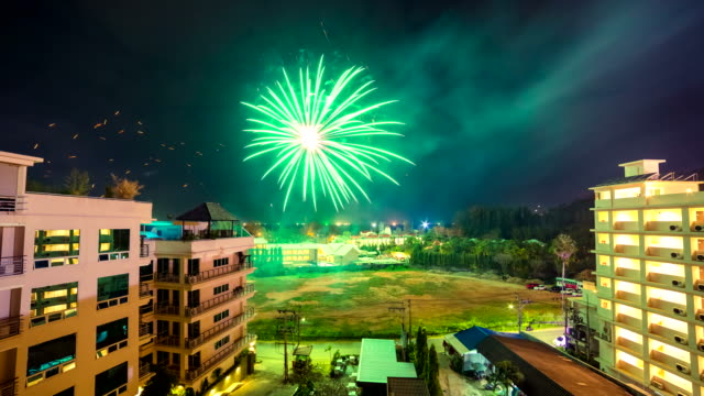 4K TimeLapse. 2016 New Year's fireworks over the city Phuket, Thailand. January, 2016. video