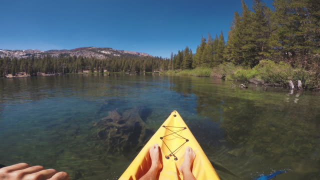 Timelapse POV of a man kayaking in a calm lake