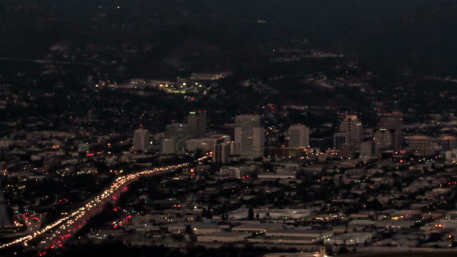 Timelapse above the City of Glendale, CA at dusk video