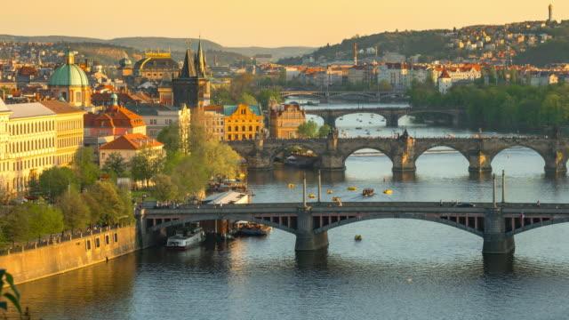 Time-lapse: Aerial Bridges on Vltava River, Prague Czech Republic
