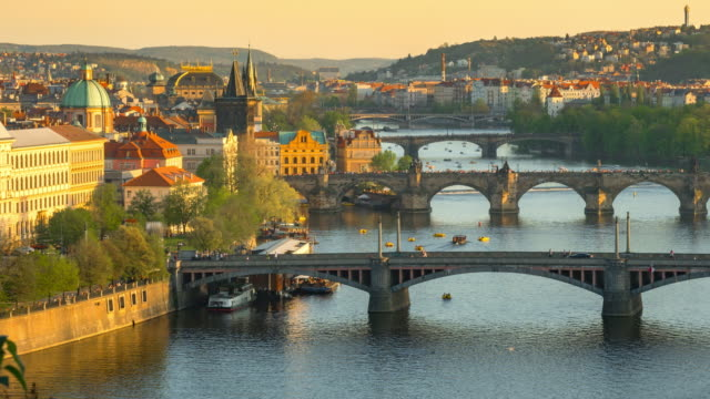 time-lapse: aerial bridges on vltava river, prague czech republic - gothic architecture stock videos & royalty-free footage