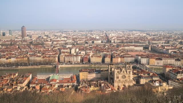 4K Time-lapse: Aerial Lyon Cityscape Rhone River Notre Dame Fourviere