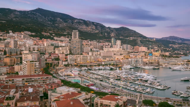 Time-lapse: Aerial Monaco Monte Carlo harbour french riviera sunset 4K Time-lapse: Aerial Monaco Monte Carlo harbour french riviera sunset, Apple ProRes 422 (HQ) 3840x2160 Format monte carlo stock videos & royalty-free footage