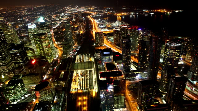 Timelapse aerial of traffic in Toronto, Canada at night video
