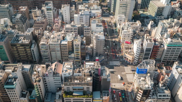 Time-lapse: Aerial Pedestrians cross at Tokyo downtown Crossing video