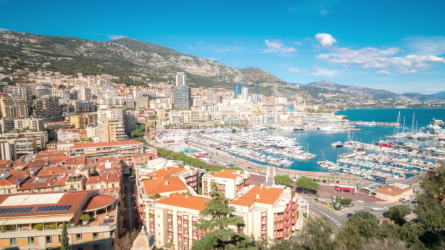 4K Time-lapse: Aerial View Monaco Monte Carlo harbour french riviera