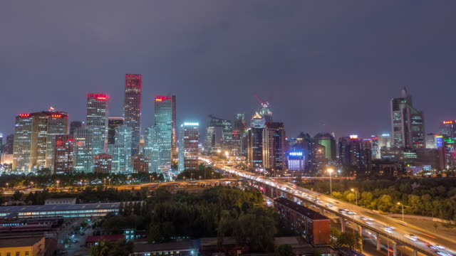 Timelapse - Aerial view of Beijing CBD area at Night video