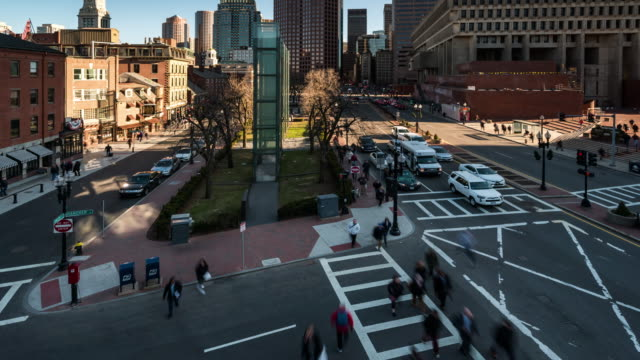 Time-lapse: Aerial view of Boston city hall and public market at Downtown MA USA