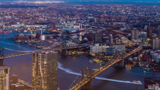 Timelapse: Aerial view of Brooklyn bridge and Manhattan Bridge, Brooklyn New York City sunset night 4K Timelapse: Aerial view of Brooklyn bridge and Manhattan Bridge, Brooklyn New York City sunset night , Apple ProRes 422 (HQ) 3840x2160 Format manhattan bridge stock videos & royalty-free footage