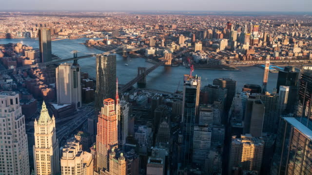 Timelapse: Aerial view of Brooklyn bridge Manhattan Bridge and Williamsburg Bridge,Brooklyn New York City sunset