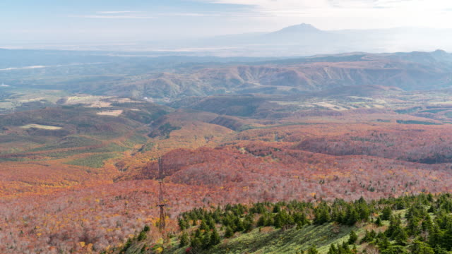 Time-lapse: Aerial View of Hakkoda Red Leave Forest from Ropeway, Aomori Japan video