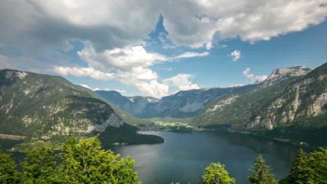 4K Time-lapse: aerial view of Hallstatt village and lake, Austria video