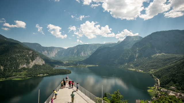 4K Time-lapse: aerial view of Hallstatt village and lake, Austria video