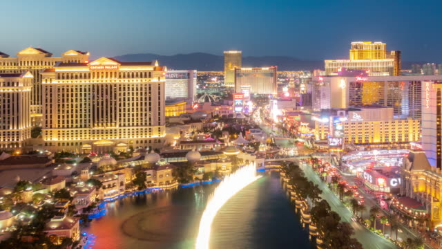 Time-lapse Aerial view of Las Vegas strip in Nevada USA Sunset night