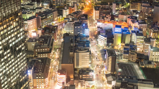 Time-lapse: Aerial view of Nagoya Cityscape at night Japan video