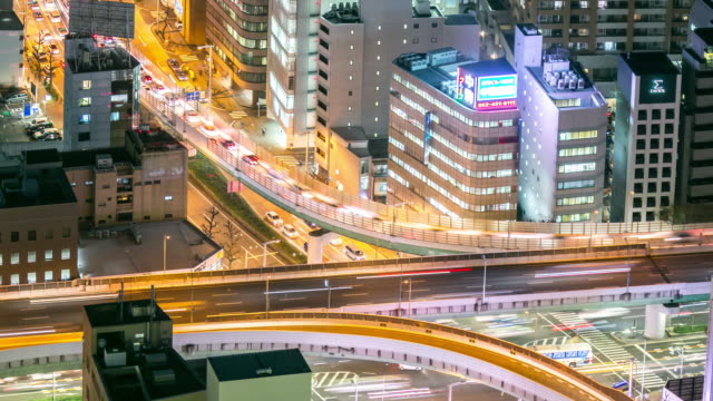 Time-lapse: Aerial view of Nagoya Cityscape highway at night Japan video