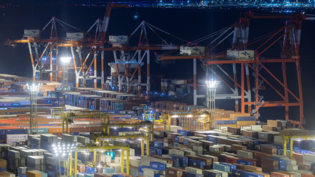 Time-lapse: aerial view of Port Working Cargo Container in Odaiba Tokyo Japan at night video