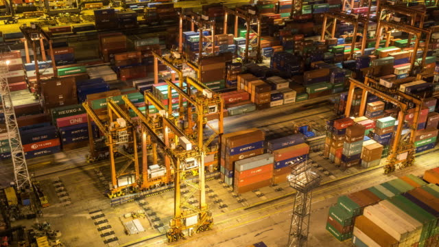 Time-lapse: Aerial view of Port Working in Tsing yi Port Hong Kong at night