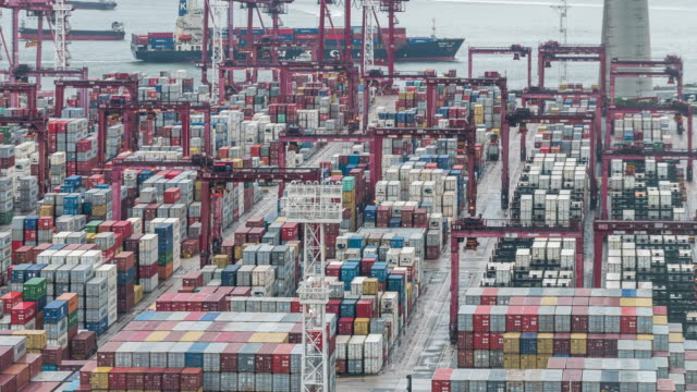 Time-lapse: Aerial view of Port Working in Tsing yi Port Hong Kong