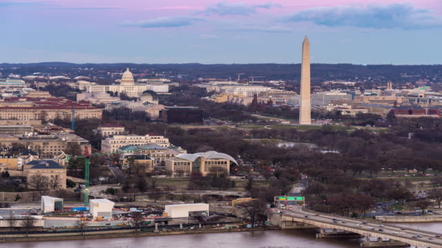 Time-lapse: Aerial view of Washington DC National Mall USA at sunset twilight 4K Time-lapse: Aerial view of Washington DC National Mall USA at sunset twilight, Apple ProRes 422 (HQ) 3840x2160 Format aerial timelapse stock videos & royalty-free footage