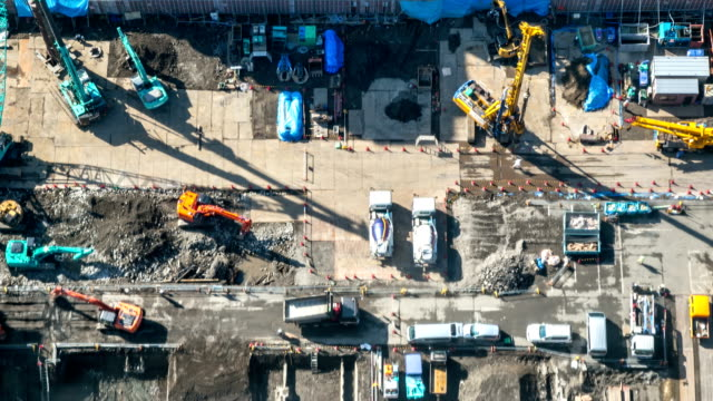 HD Time-lapse: Aerial view of working Construction site video