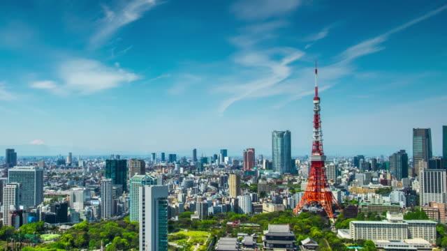 4 k time -lapse (低速度撮影):上空から見た日本東京の街 - 青空点の映像素材/bロール