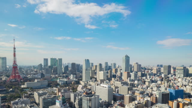 4 k time -lapse (低速度撮影):航空写真東京の景観に bkue スカイ(パン) - 青空点の映像素材/bロール