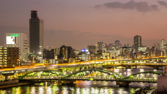 4K Time-lapse: aerial view Tokyo skyline cityscape at night video