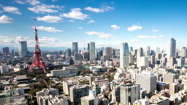 HD :Time -lapse (低速度撮影)  上空から見た東京のタワー日本 ビデオ