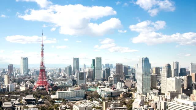 hd :time -lapse (低速度撮影)  上空から見た東京のタワー日本 - 東京タワー点の映像素材/bロール