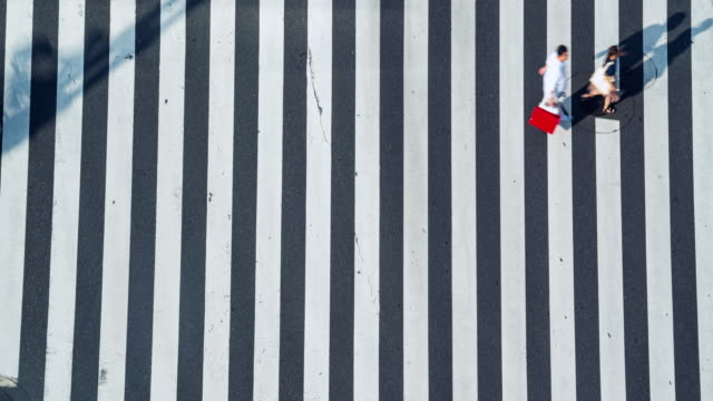 4K Timelapse aerial view wide shot of pedestrian man and woman tourist walking crossing the street crosswalk with driving cars on the road in summer weekend at Ginza, Tokyo, Japan