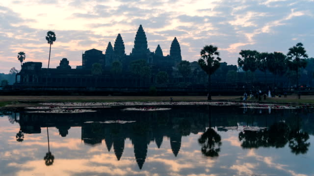 Timelapse Angkor Wat and sunrise sky in morning at siem reap cambodia video