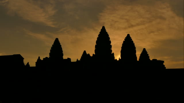 Time-lapse: Angkor Wat Temple at Sunrise Silhouette video