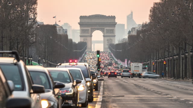 Timelapse: Arc of Triomphe Champs Elysees Paris city, France video