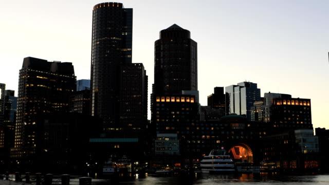 Timelapse at dark of the Boston city center video