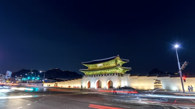 Timelapse at Gwanghwamun Gate by night, Seoul, South Korea, 4K Time lapse Timelapse at Gwanghwamun Gate by night, Seoul, South Korea, 4K Time lapse gwanghwamun gate stock videos & royalty-free footage