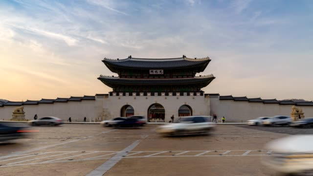 Timelapse at Gwanghwamun Gate, Seoul, South Korea, 4K Time lapse Timelapse at Gwanghwamun Gate, Seoul, South Korea, 4K Time lapse gwanghwamun gate stock videos & royalty-free footage