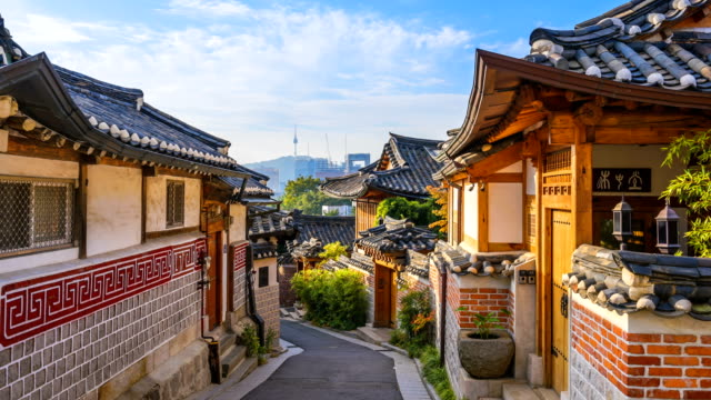 Timelapse at Seoul City,Bukchon Hanok Village, Seoul, South Korea, 4K Time lapse Timelapse at Seoul City,Bukchon Hanok Village, Seoul, South Korea, 4K Time lapse namsan seoul stock videos & royalty-free footage