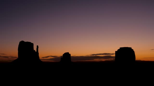 Timelapse At Sunrise In Monument Valley With High Black Silhouette Rock Buttes