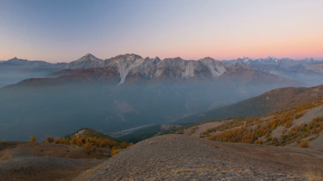 timelapse at sunrise, massif des ecrins, the alps - hautes alpes stock videos & royalty-free footage