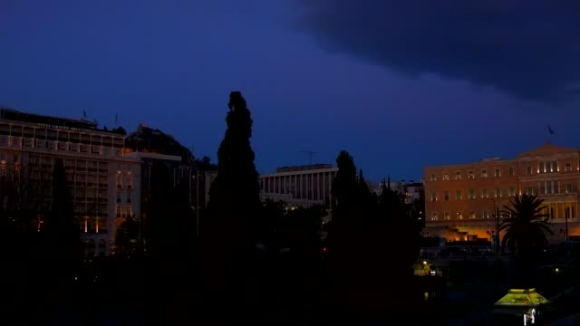 Timelapse - Athens, Greece, Syntagma Square, people, cars, clouds, from day to night video