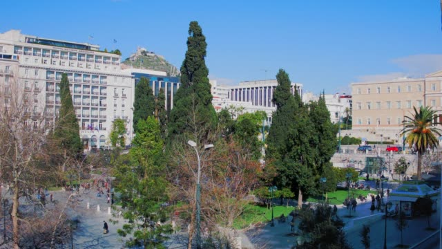 Timelapse - Athens, Greece, Syntagma Square, people, cars, clouds, trees video