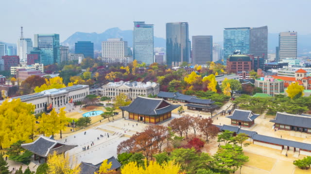 Timelapse Autumn of Deoksugung royal palace and Seoul City Hall in Seoul,South Korea. Timelapse Autumn of Deoksugung royal palace and Seoul City Hall in Seoul,South Korea.Zoom out gyeongbokgung stock videos & royalty-free footage