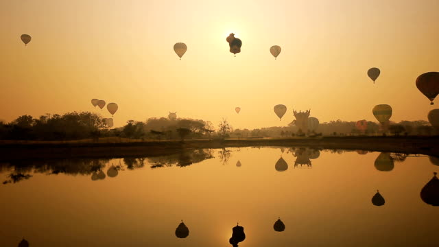 Timelapse, Balloons festival in the sunrise video