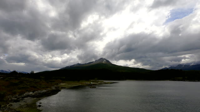 Time-lapse :Beagle channel bay and Andes snowcapped mountains, Ushuaia - Tierra Del fuego