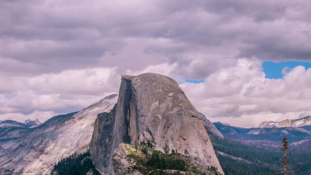 Timelapse - Beautiful Clouds Moving over Half Dome at Yosemite - 4K