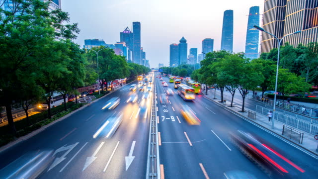 Time-lapse beijing city traffic at sunset Time-lapse beijing city traffic at sunset traffic time lapse stock videos & royalty-free footage
