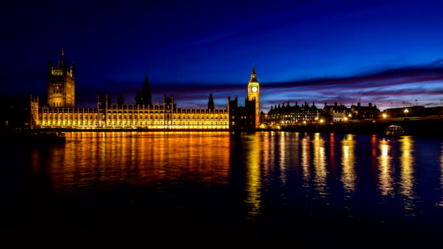Timelapse Big Ben and House of Parliament in City of London day to night HD 1080 video