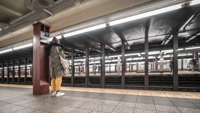 Time-lapse: Blurred Background Pedestrians Crowd in New York metro Subway train Station 4K Time-lapse: Blurred Background Pedestrians Crowd in New York metro Subway train Station, Apple ProRes 422 (HQ) 3840x2160 Format new york city subway stock videos & royalty-free footage