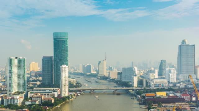 4K - Time-lapse : Boat on Bangkok Chao Phraya river video